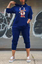 Blue Casual Print Split Joint Hooded Collar Long Sleeve Two Pieces