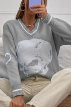 Grey Casual Print Split Joint V Neck Tops