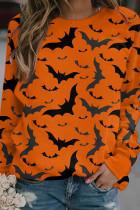 Orange Yellow Casual Street Print Split Joint O Neck Tops