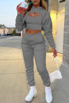Dark Gray Fashion Casual Solid Hollowed Out Hooded Collar Long Sleeve Three-piece Set