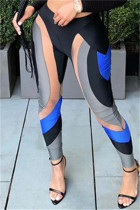 Black Fashion Casual Print Split Joint Skinny High Waist Pencil Trousers