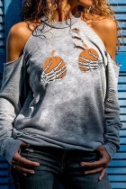 Light Gray Street Print Ripped Hollowed Out Split Joint O Neck Tops