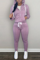 Purple Fashion Casual Solid Zipper Hooded Collar Long Sleeve Two Pieces