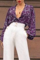 Purple Sexy Print Split Joint Buckle V Neck Straight Jumpsuits