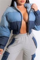 Blue Fashion Casual Patchwork Cardigan Zipper Collar Outerwear