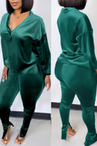 Green Casual Solid Split Joint V Neck Long Sleeve Two Pieces