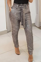 Silver Fashion Casual Solid Bandage Regular High Waist Conventional Solid Color Bottoms