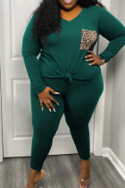 Ink Green Fashion Casual Print Split Joint V Neck Plus Size Two Pieces