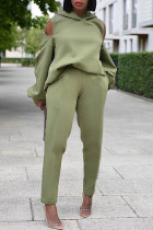Green Casual Solid Split Joint Zipper Hooded Collar Long Sleeve Two Pieces