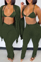Green Fashion Casual Solid Cardigan Vests Pants Long Sleeve Three-piece Set