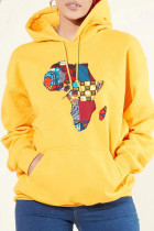 Yellow Fashion Casual Print Basic Hooded Collar Tops