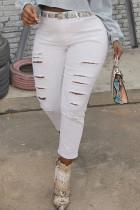 White Street Solid Ripped Make Old Split Joint High Waist Denim Jeans