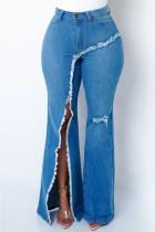Blue Fashion Casual Solid Ripped Slit High Waist Regular Denim Jeans