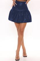 Navy Blue Fashion Casual Solid Basic Regular High Waist Skirt
