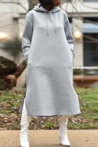 Grey Casual Street Solid Split Joint Zipper Hooded Collar Straight Dresses