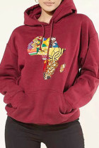 Red Fashion Casual Print Basic Hooded Collar Tops
