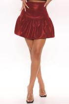 Burgundy Fashion Casual Solid Basic Regular High Waist Skirt