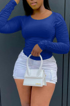 Blue Casual Solid Split Joint Fold O Neck Tops