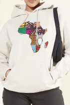 White Fashion Casual Print Basic Hooded Collar Tops