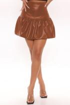 Brown Fashion Casual Solid Basic Regular High Waist Skirt