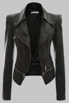 Black Fashion Casual Solid Split Joint Zipper Turndown Collar Outerwear