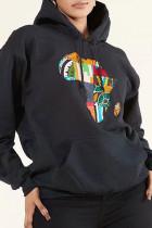 Black Fashion Casual Print Basic Hooded Collar Tops