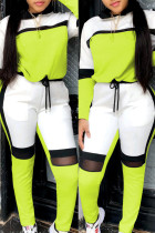 Fluorescent Green Fashion Casual Patchwork Basic O Neck Long Sleeve Two Pieces
