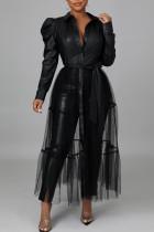 Black Fashion Casual Solid Split Joint Turndown Collar Tops