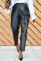 Black Fashion Casual Solid Split Joint Regular High Waist Trousers