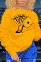 Yellow Fashion  basis Print Split Joint O Neck Tops