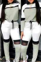 Grey Fashion Casual Patchwork Basic O Neck Long Sleeve Two Pieces