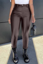 Brown Fashion Casual Solid Basic Skinny High Waist Pencil Trousers