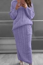 Purple Fashion Casual Solid Split Joint O Neck Long Sleeve Two Pieces
