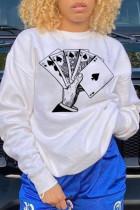 White Fashion  basis Print Split Joint O Neck Tops