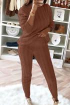 Khaki Fashion Casual Long Sleeve Oblique Collar Regular Sleeve Regular Solid Two Pieces