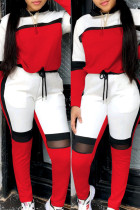 Red Fashion Casual Patchwork Basic O Neck Long Sleeve Two Pieces