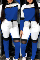 Blue Fashion Casual Patchwork Basic O Neck Long Sleeve Two Pieces