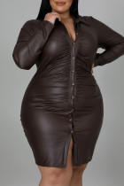 Brown Casual Solid Split Joint Buckle Turndown Collar One Step Skirt Plus Size Dresses