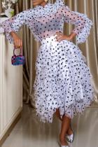 White Fashion Elegant Print Polka Dot Split Joint See-through Flounce Fold Asymmetrical Half A Turtleneck Long Sleeve Two Pieces