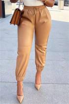 Khaki Fashion Casual Solid Basic Regular High Waist Trousers