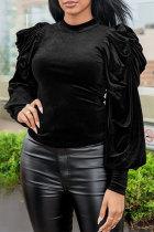Black Fashion Casual Solid Basic Half A Turtleneck Tops