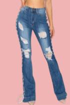 Blue Fashion Casual Solid Ripped Bandage High Waist Regular Denim Jeans