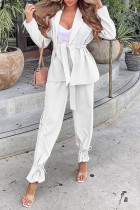 White Casual Solid Split Joint With Belt Turn-back Collar Long Sleeve Two Pieces
