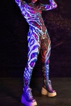 Purple Street Punk Print Skull Split Joint Hooded Collar Skinny Jumpsuits