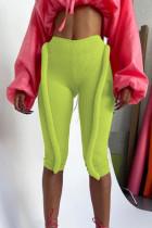 Green Fashion Casual Solid Basic Skinny High Waist Pants