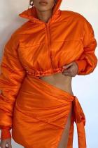 Orange Sexy Solid Split Joint Slit Mandarin Collar Long Sleeve Two Pieces