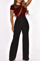 Burgundy Fashion Sexy Patchwork Sequins See-through O Neck Regular Jumpsuits
