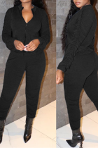 Black Casual Solid Split Joint Zipper Collar Long Sleeve Two Pieces