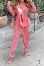 Pink Casual Solid Split Joint With Belt Turn-back Collar Long Sleeve Two Pieces