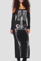 Black Street Punk Print Skull Split Joint U Neck Straight Dresses